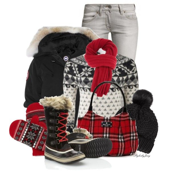 Snow boots and mittens with a holiday sweater, bomber jacket, a plaid bag, and a pom pom beanie! Let me help u find all the things that u love from Pinterest on my brand new fashion channel!  https://www.youtube.com/watch?v=XSiQP5OFjXE&list=UUCP8TXebOqQ_n_ouQfAfuXw