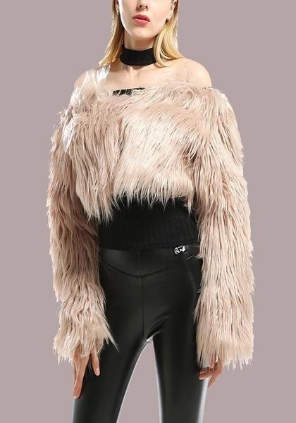 3393389329c3 Khaki Fur Off Shoulder Backless Long Sleeve Fashion Cardigan Coat ...
