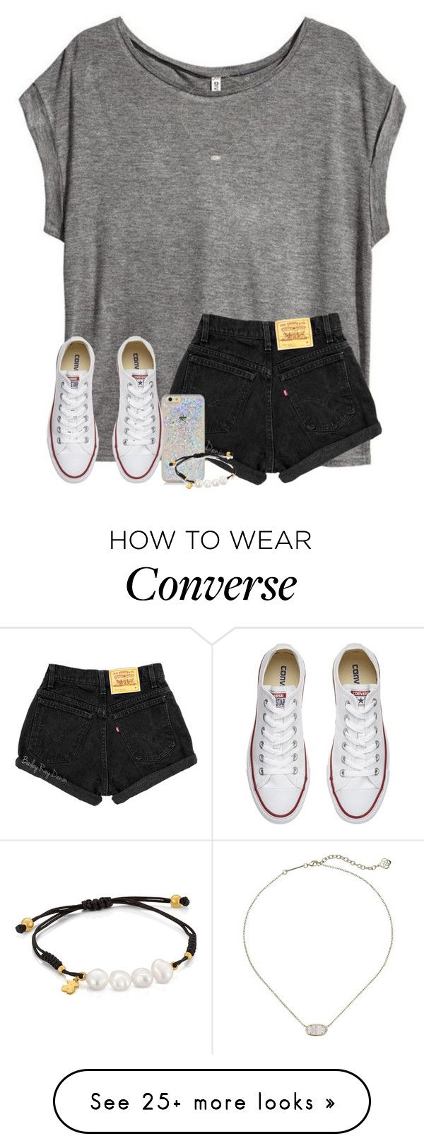 let me love you.. by arieannahicks on Polyvore featuring HM, TOUS, Kendra Scott and Converse