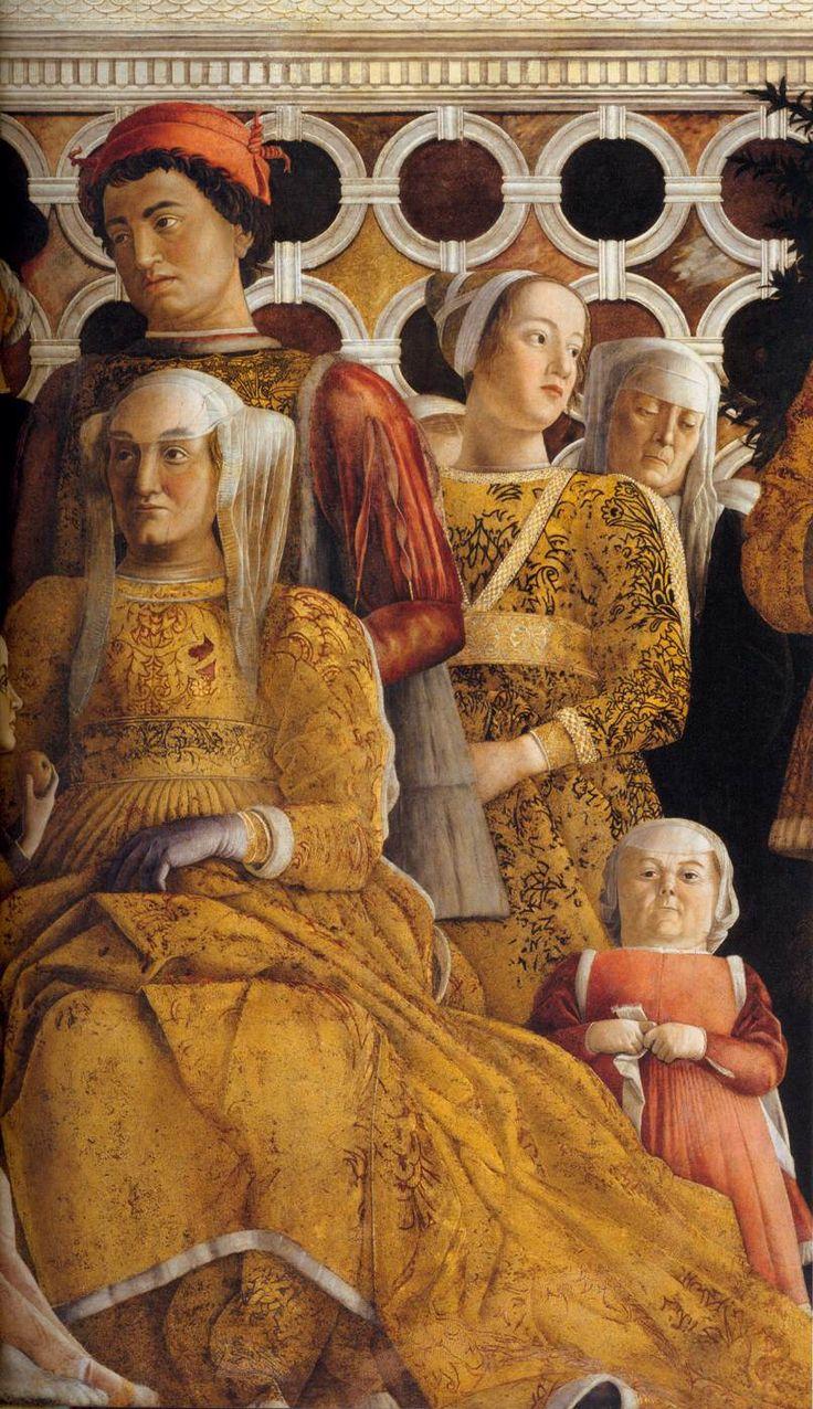 Andrea Mantegna,The Court of Gonzaga, 1465-74. Mantua, Palazzo Ducale - Camera degli sposi - or 'camera picta' with family portrait and court members. Fresco.
