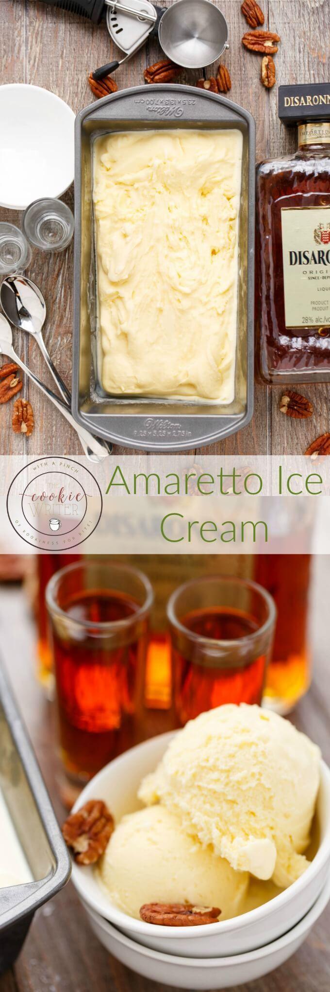 Amaretto Ice Cream   http://thecookiewriter.com   @thecookiewriter   #icecream