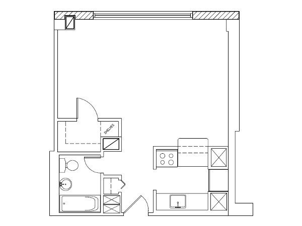 Studio blueprints sample floor plan only other layouts for Small apartment layout plans