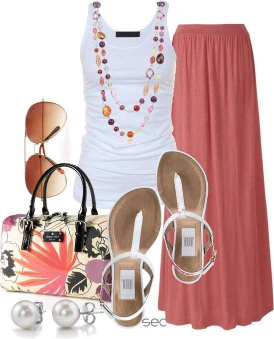 I would wear a chambray shirt over the tank, but love these colors and the accessories. :)