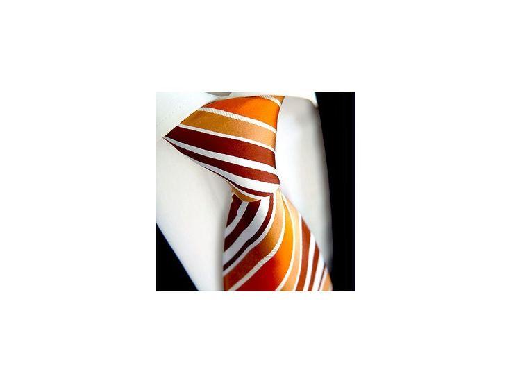 Oranžová pruhovaná kravata Beytnur 42-6 . skladem dodání 1-3dny