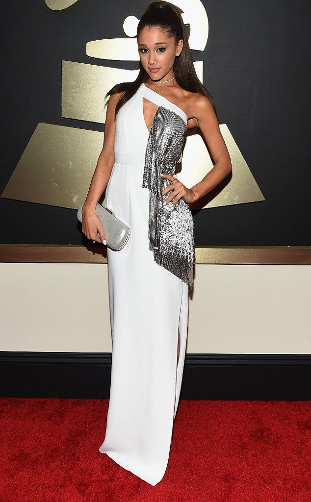 Ariana Grande wows in a white Versace gown at the Grammy Awards!