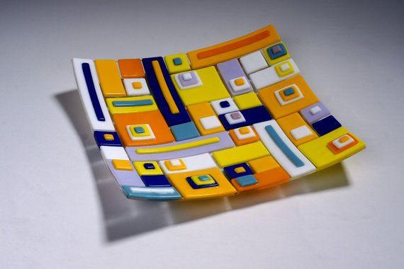 Contemporary fusing glass decor plate S-Interiors Colore Domino