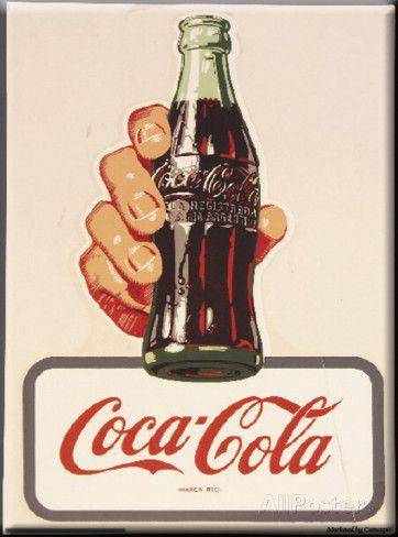 Coca-Cola, bottiglia degli anni '30 e logo rotondo Targa in alluminio
