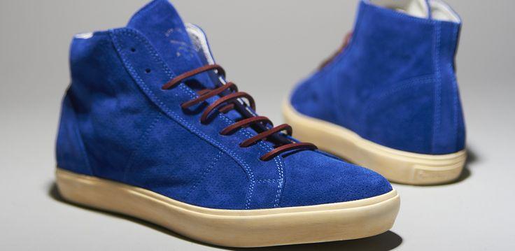 Pantofola d'Oro Del Bello Mid Shiny Microforato Suola Bianca - Mens Shoes - Blue