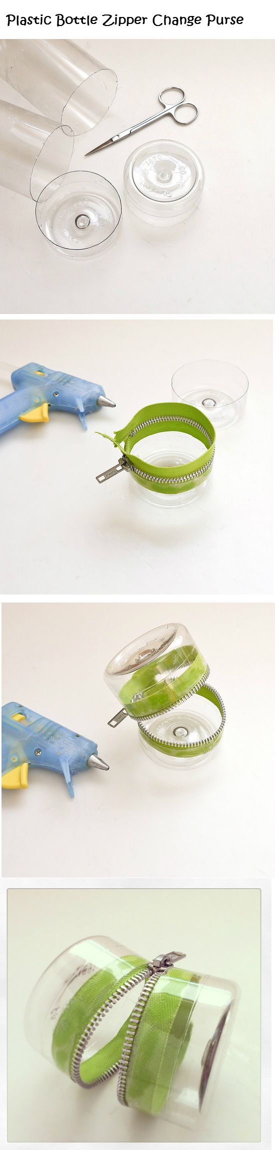 """Plastic Bottle Zipper Change Purse - So cute as a stocking stuffer. If you have D&D gamers. you can make these in """"guy"""" colors to hold gaming pieces, dice etc.,. You can even make kits. There are mini mani sets and make-up for the girls! Or how about earbuds, a memory card and/or a cable for the techies?"""