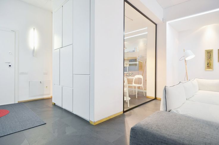 Apartment in Bucharest  - #interior #interiordesign #kitchen #living #lifestyle #housing #residential #white #slate  #urban #architecture #apartment #relax #furniture #custom #shelves #book #booklovers #storage