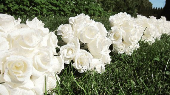 Rustic Ivory Crepe Paper Bridesmaids Bouquets by moniaflowers