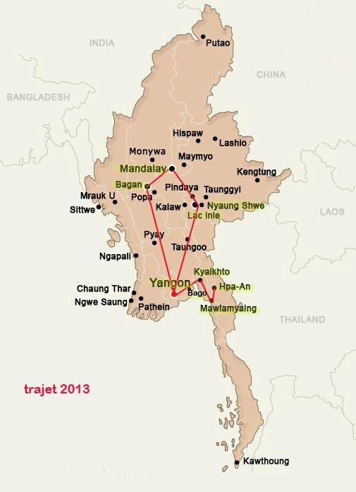 carte birmanie 2013-itinéraires de voyage en Birmanie.