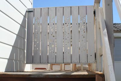 Materials: Gorm shelves Description: For the safety of our grandson (2) who loves playing ball on the terrace, we needed a gate at the top of the stairs. I used 3 Gorm shelves, 2 boards and two strap hinges and a door latch. I drilled holes of different sizes through the wood and decided to [&hellip