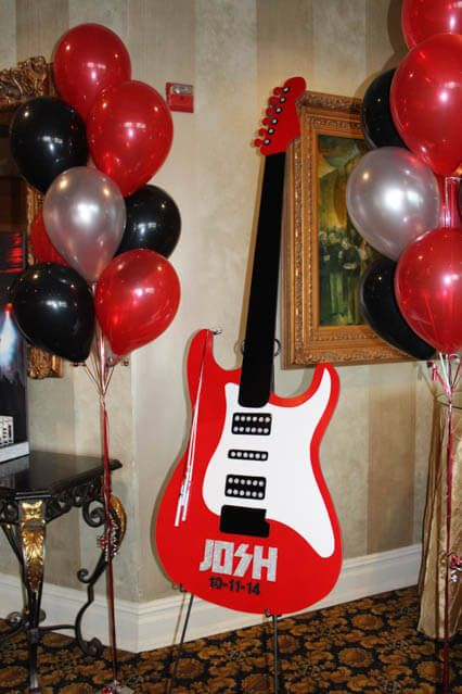 Guitar Sign in Board Guitar Shaped Sign in Board for Music Themed Bar Mitzvah