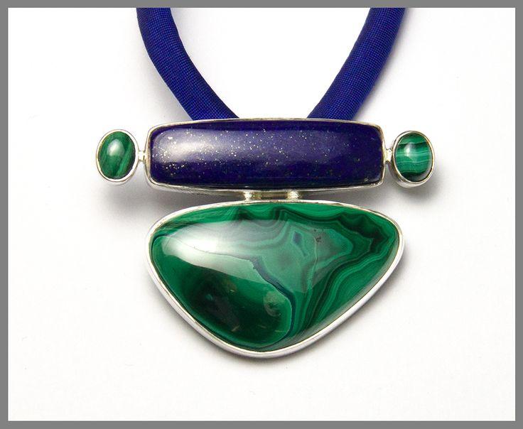 Lapis Lazuli Malachite Pendant, Sterling Silver, Original Design, Only One
