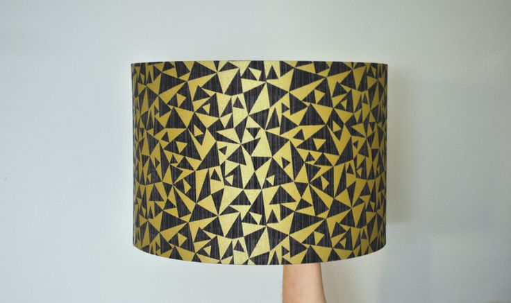 Black and Gold Metallic Geometric Drum Lampshade | Hand Rolled | Ceiling Pendant | Floor Table Lamp | Christmas Present | Gift for Them by RukuLampshades on Etsy