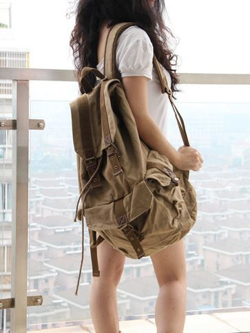 Classic Canvas Rucksack Backpack #canvasbackpack #canvasleatherbag #rucksack