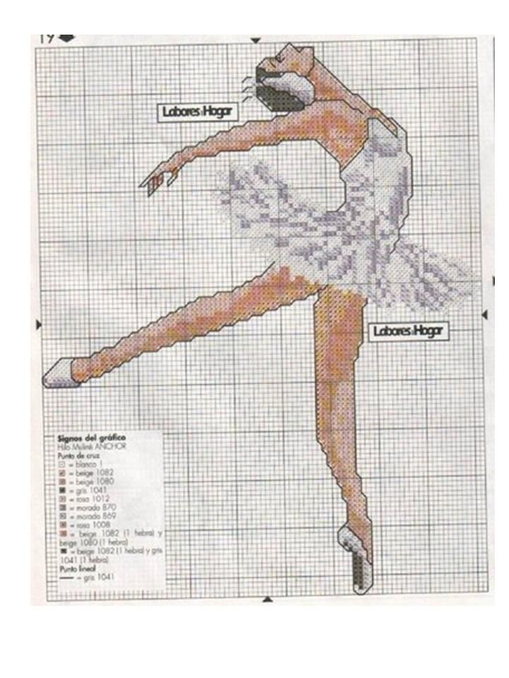 Borduurpatroon Hobby & Sport Kruissteek *Cross Stitch Pattern  ~Ballet: Ballerina Tutu: met kleurkaart 2/2~
