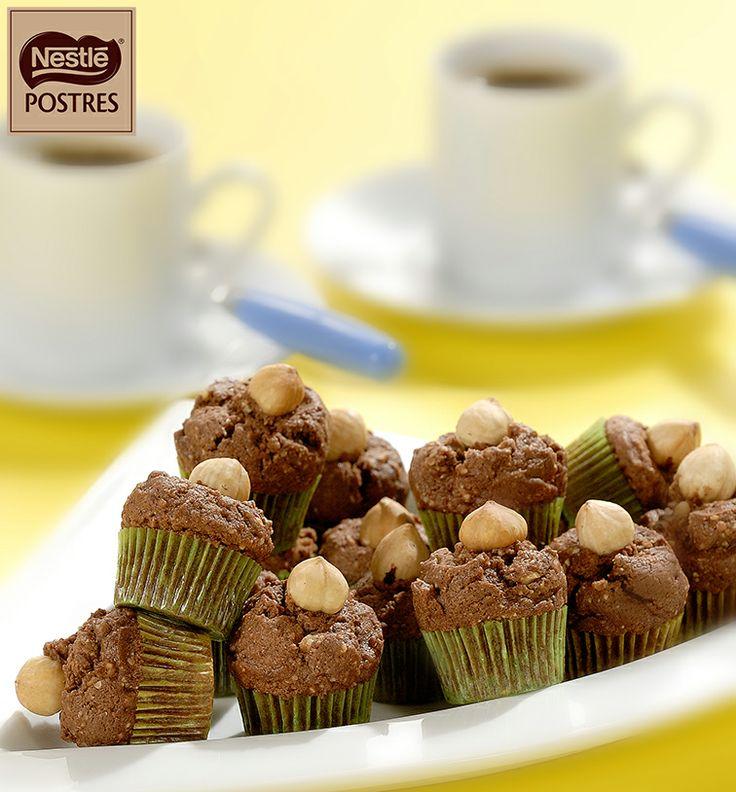Mini magdalenas de chocolate con avellanas