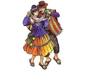 Danza del Norte de Chile. Su vestimenta es muy colorida predominando la ropa de lana de alpaca o vicuña. La pareja de bailarines realizan pasos como si estuviesen trotando. Mientras se mueven...