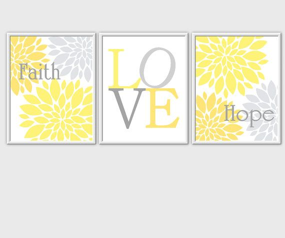 Items Similar To Modern Fl Wall Decor Yellow Gray Flower Burst Faith Love Hope Flourish Home Art Prints Bedroom On