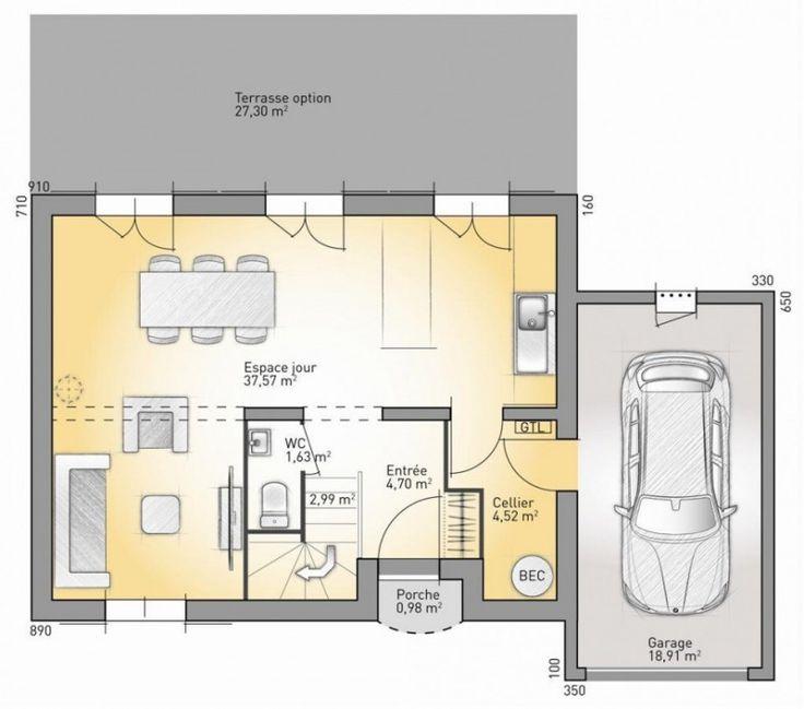 construire une maison de 100m2 interesting quadri de maisons plan de maison m chambres with. Black Bedroom Furniture Sets. Home Design Ideas