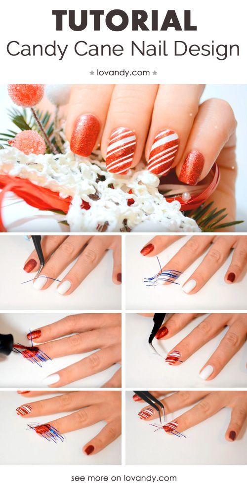 How To Create Red Candy Cane Nails Using Tape