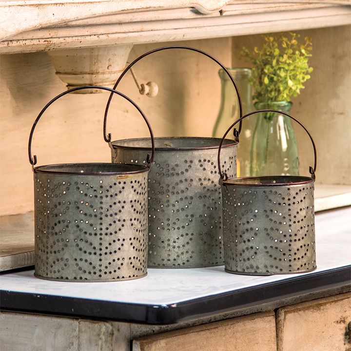 Galvanized Punched Tin Buckets Are A 3 Piece Set Kpcreek Com Punched Tin Decorative Buckets Olive Bucket