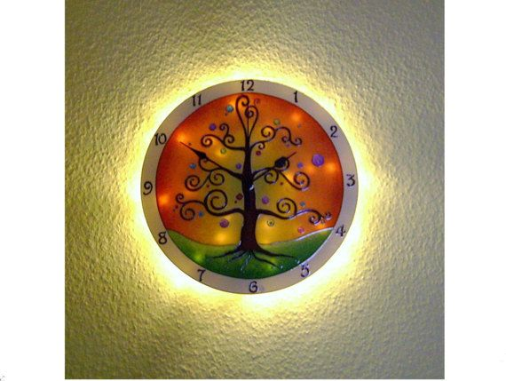 Life of Tree Light-up Wall Clock, Large wall clock, Hand painted wall clock, Glass wall clock, Glass paiting