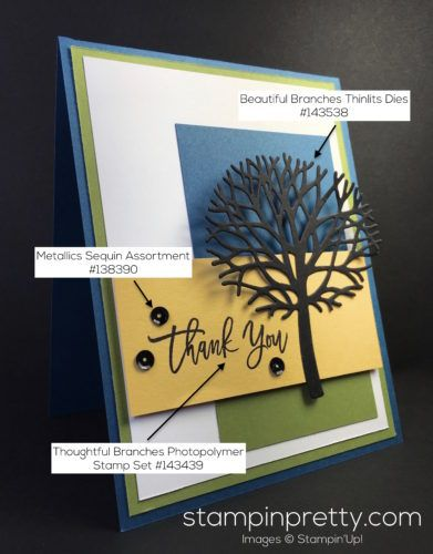 Thoughtful Branches Photopolymer Stamp Set & Beautiful Branches Thinlits Dies thank you card created by Mary Fish, Stampin' Up! Demonstrator.  1000+ StampinUp & SUO card ideas.  Read more http://stampinpretty.com/2016/08/tree-silhouette-thank-you-card.html