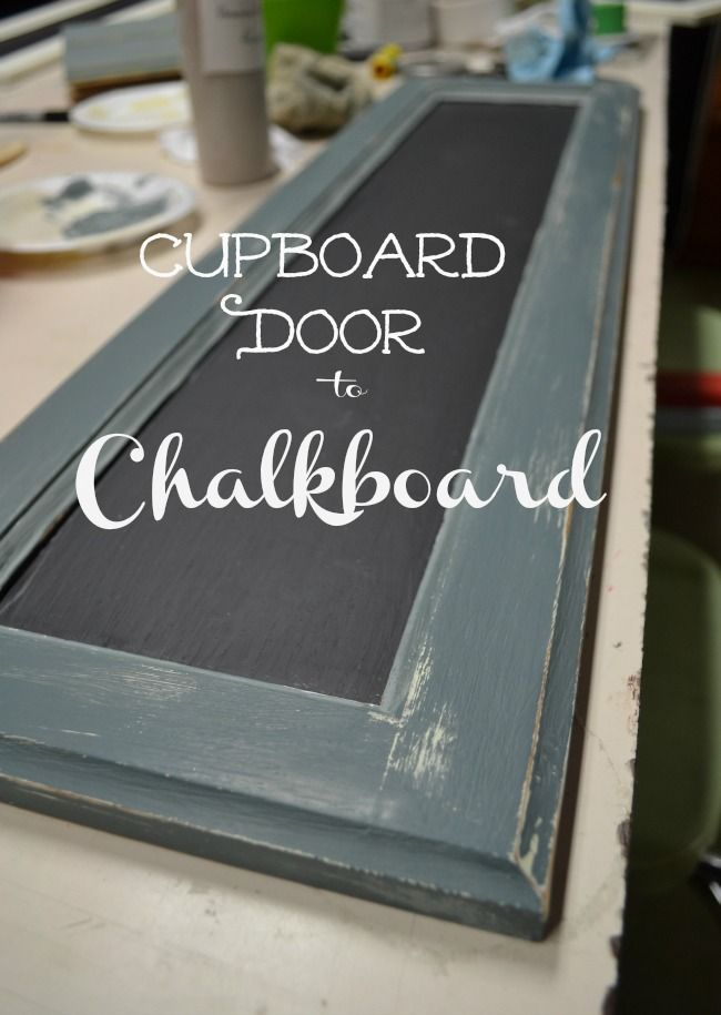 An old cupboard door turns into a fun chalkboard!  Random doors can be easliy found at Habit for Humanity and other Salvage shops for just a dollar or two!  Add some chalkpaint, and some chalkboard paint and you have a functional decorative accessory for any room! Cupboard Door Chalkboard - redcottagechronicles.com