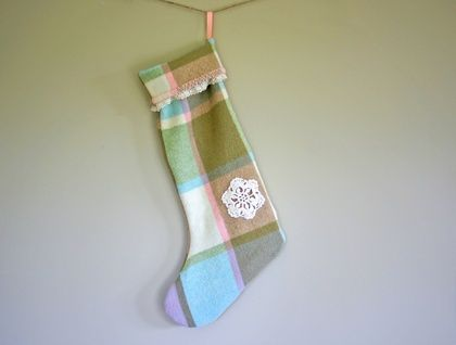 Retro Plaid Wool Christmas Stocking (Pink, Blue and Green Hues)