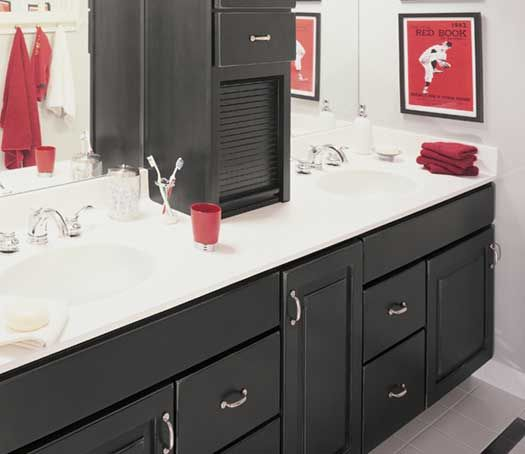 the cabinet on the counter black bathroom cabinets
