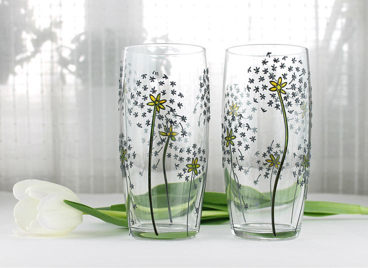 Hand Painted Glasses, Dandelion Design, Floral Tumblers, Water Glasses,  Drinking Glasses,  Set of 2,  Everyday Glasses with Dandelions by witchcorner on Etsy