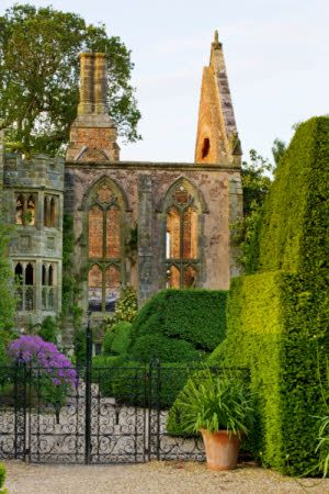 The ruins and topiary hedge at Nymans, West Sussex
