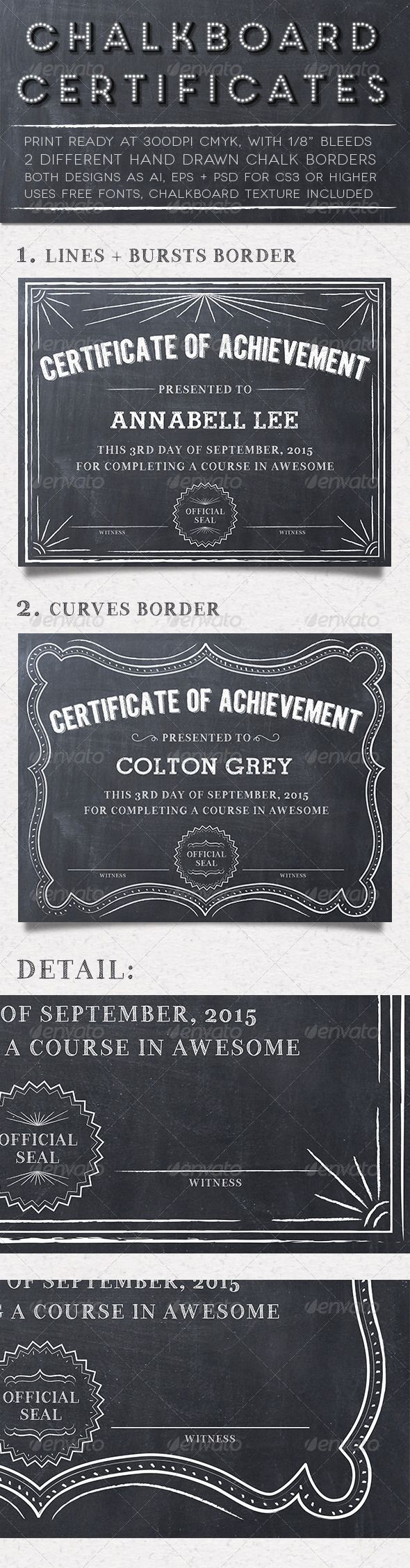 Chalkboard Certificate Template PSD, Vector EPS, Vector AI. Download here: http://graphicriver.net/item/chalkboard-certificates/5565189?s_rank=35&ref=yinkira