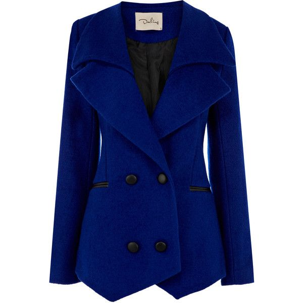OASIS Jamie Jacket (330 BRL) ❤ liked on Polyvore featuring outerwear, jackets, coats, coats & jackets, cappotti, blue, collar jacket, blue jackets, pocket jacket and oasis jackets