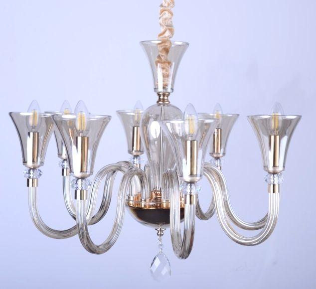 Стеклянная люстра цветом шампань . Данная модель изготовлена для интерьеров в стиле современная классика .