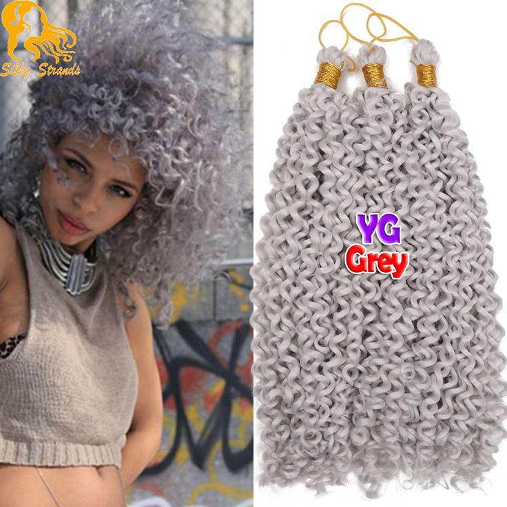Grey Haak Hair Extensions Krullend Bohemian Synthetische Afro Kinky Krullend Gehaakte Vlechten Haar Kanekalon Gehaakte Vlechten Krullend Haar