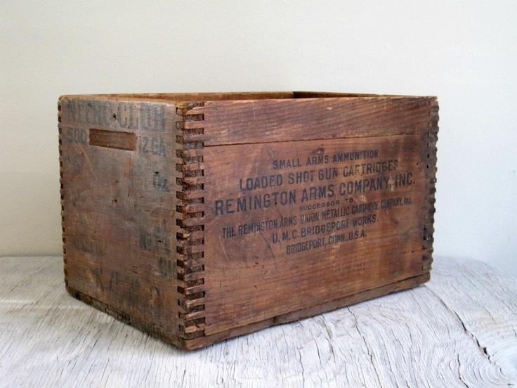 Old Wooden Ammo Bo Vintage Wood Box Remington Crate Storage