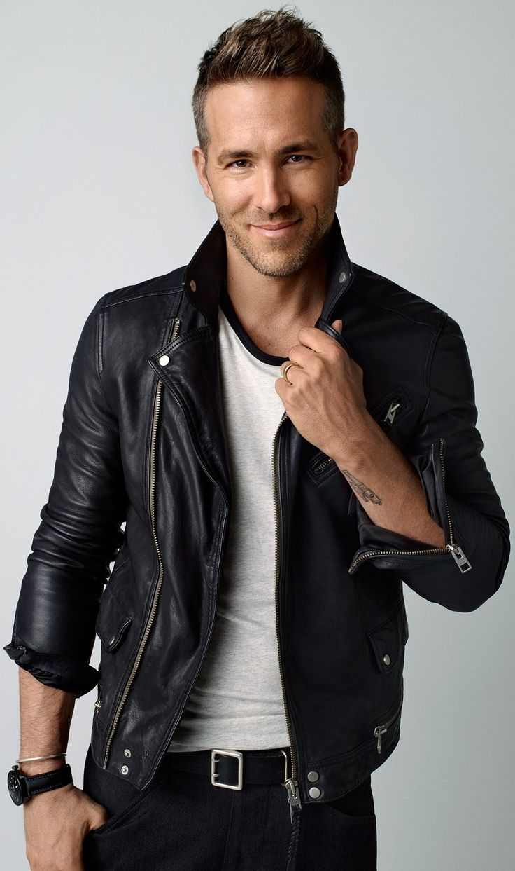 ryan reynolds | Ryan Reynolds Mens Motorbiker Black Leather Jacket