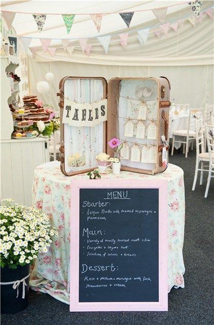 country garden suitcase wedding ideas