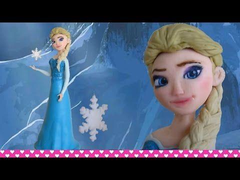 How to make a Fondant Disney Elsa Frozen Cake Topper Figurine Tutorial ENGLISH - YouTube