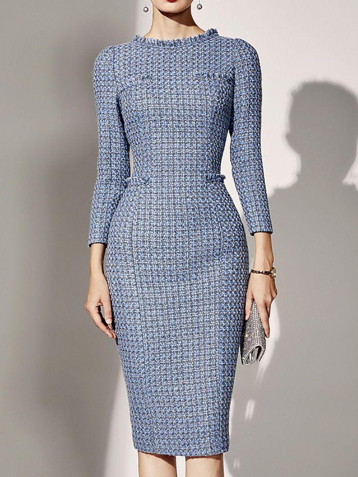 Women Elegant Party Dresse Pockets plaid Crew Neck Midi Dress 17