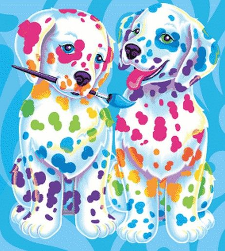 Lisa Frank rainbow paint puppies  I used to love the 101 Dalmatians so much that I had sheets and accessories and then LF came out with these cuties and I instantly became obsessed with her work! =^w^=