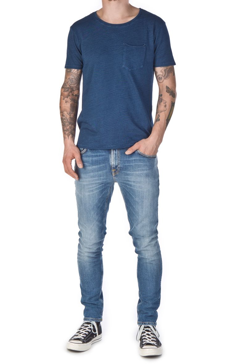 Nudie Jeans Ove Pocket Tee Washed Out Indigo