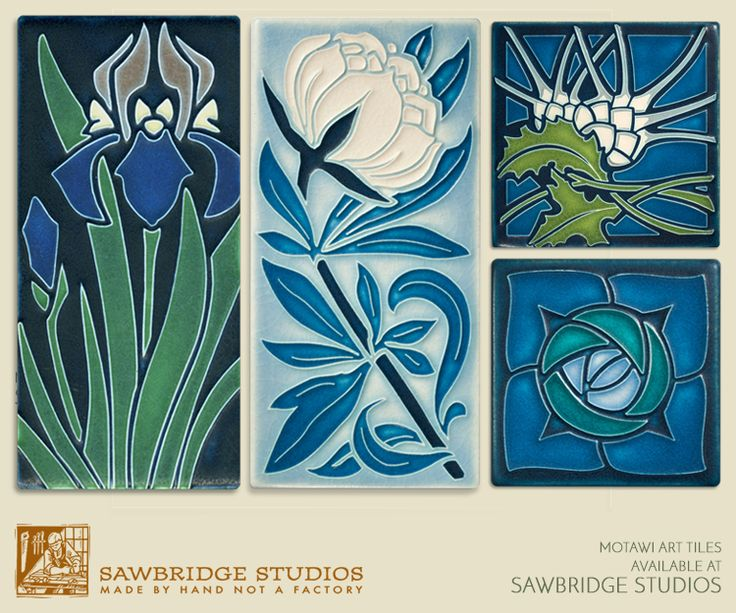 "Motawi tiles are distinctive with rich glazes and finely executed designs inspired by Art Nouveau, Arts & Crafts and Mid-Century masters.  Shop our website or stop in our gallery.  http://www.sawbridge.com/category.asp?catid=4055&pindex=all  Pictured are the 4x8 ""Iris"" in Indigo, the 4x8 ""Peony"" in Pale Blue, the 6x6 ""Thistle"" in Indigo and the ""Rosie O' Grady"" in Turquoise."