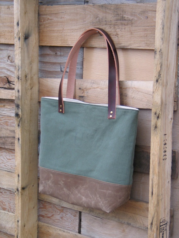 Recycled Army Canvas Tote with Leather Handles and Waxed Canvas from Zakken on Etsy