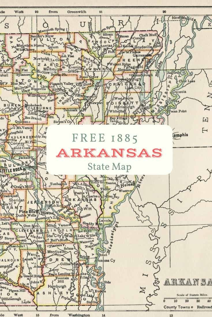 picture relating to Printable Vintage Maps identified as Absolutely free printable aged map of Arkansas towards 1885. #map #united states of america