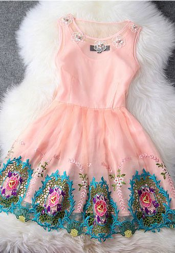 I love fit and flare/A-line dresses and hemline details/adornment. This one is spectacular, but truth be told too much pastel, too bright and young... Need some black in there and a few less colors. Still, if I had the right event, I would wear and adore this dress!!